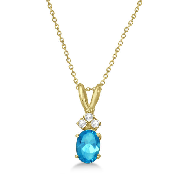 Blue Topaz Pendant with Diamonds 14K Yellow Gold (1.06ctw)