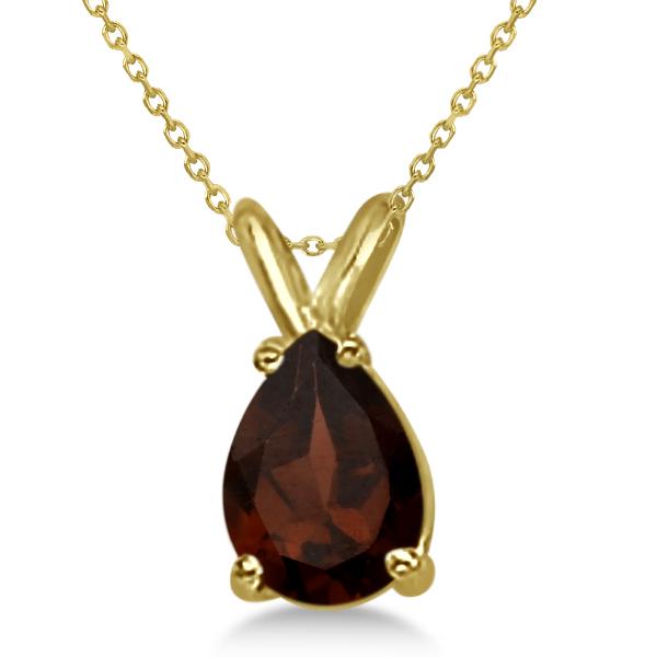 Pear-Cut Garnet Solitaire Pendant Necklace 14K Yellow Gold (1.00ct)