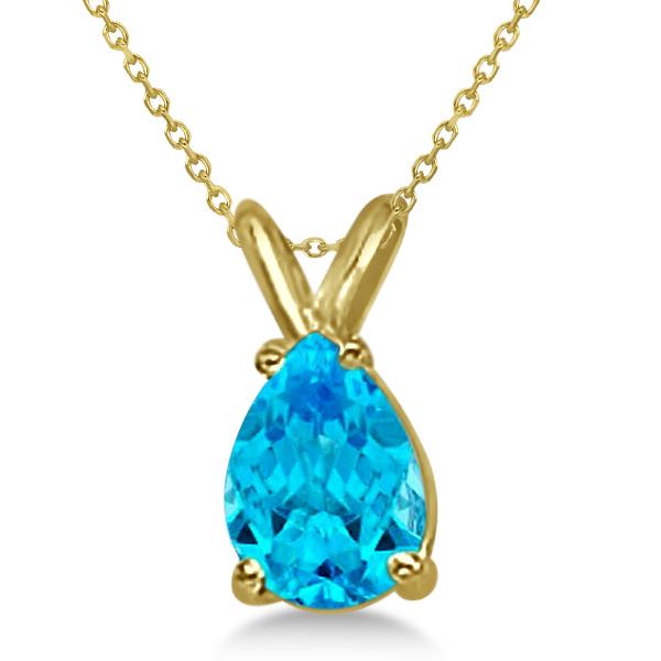 Pear-Cut Blue Topaz Solitaire Pendant Necklace 14K Yellow Gold (1.0ct)
