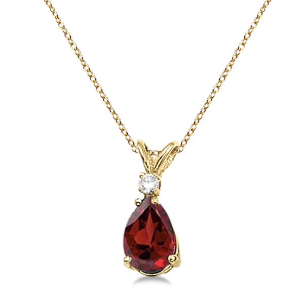 Pear Garnet and Diamond Solitaire Pendant Necklace 14k Yellow Gold