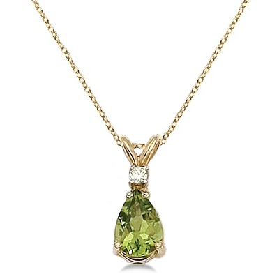 Pear Peridot and Diamond Solitaire Pendant Necklace 14k Yellow Gold