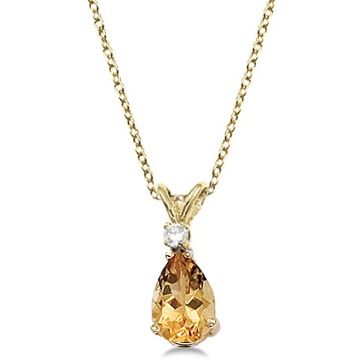 Pear Citrine and Diamond Solitaire Pendant Necklace 14k Yellow Gold