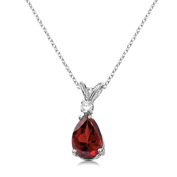 Pear Garnet and Diamond Solitaire Pendant Necklace 14k White Gold