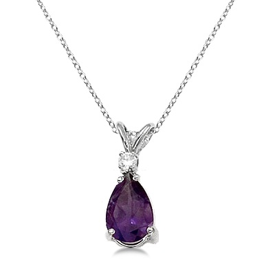 Pear Amethyst and Diamond Solitaire Pendant Necklace 14k White Gold