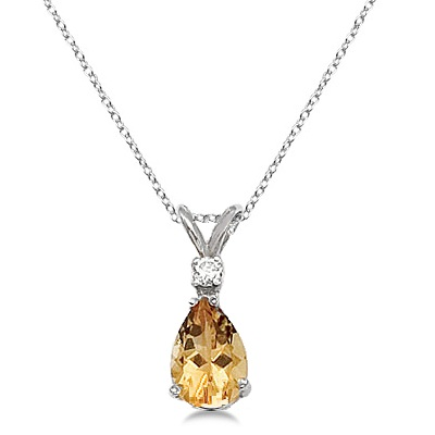Pear Citrine and Diamond Solitaire Pendant Necklace 14k White Gold