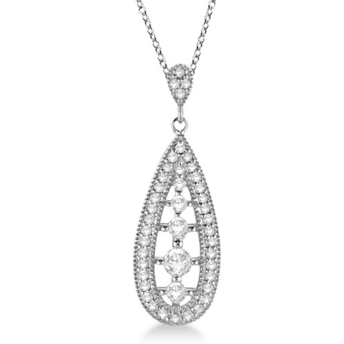 Vintage Diamond Teardrop Pendant Necklace 14k White Gold (0.25ct)
