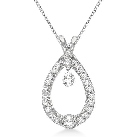 Bezel Set Teardrop Diamond Pendant Necklace 14k White Gold (0.75ct)