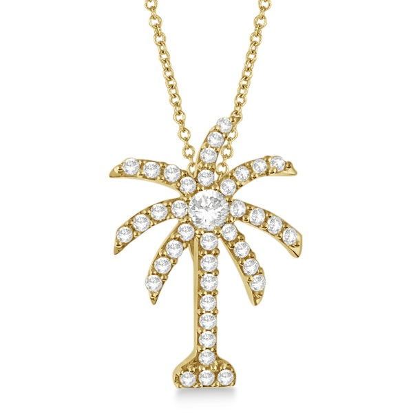 Palm Tree Shaped Diamond Pendant Necklace 14k Yellow Gold (1.00ct)