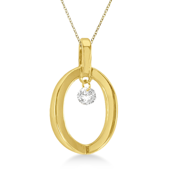 Oval Shape Diamond Solitaire Pendant Necklace 14k Yellow Gold (0.10ct)