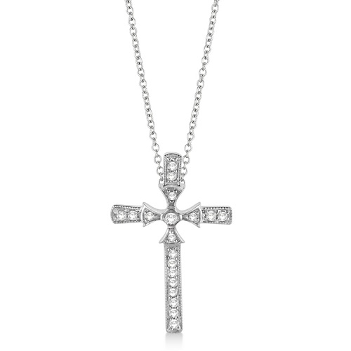 Byzantine Cross Diamond Pendant Necklace 14k White Gold (0.25ct)