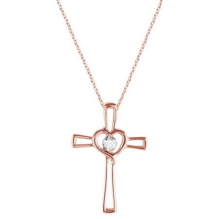 Diamond Heart on Cross Pendant Fancy Necklace in 14k Rose Gold