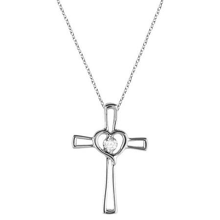 Diamond Heart on Cross Pendant Fancy Necklace in 14k White Gold