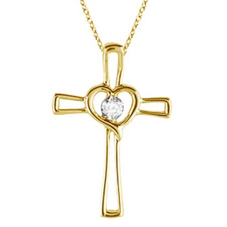 Diamond Heart on Cross Pendant Fancy Necklace in 14k Yellow Gold