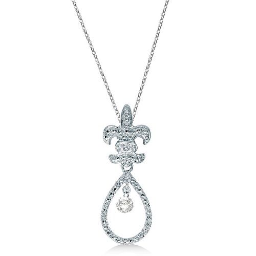 Fleur De Lis Teardrop Diamond Pendant Necklace 14k White Gold (0.15ct)