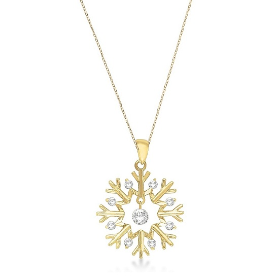 Snowflake Shaped Diamond Pendant Necklace 14k Yellow Gold (0.20ct)