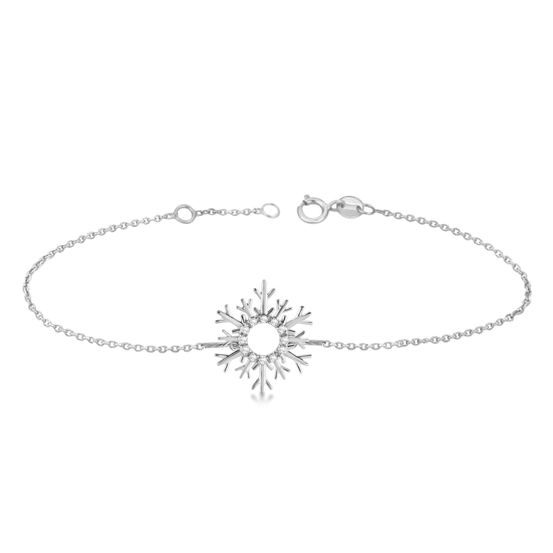 Snowflake Diamond Anklet 14k White Gold (0.10ct)
