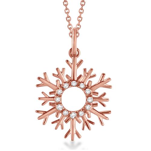 Snowflake Diamond Pendant Necklace 14k Rose Gold (0.10ct)