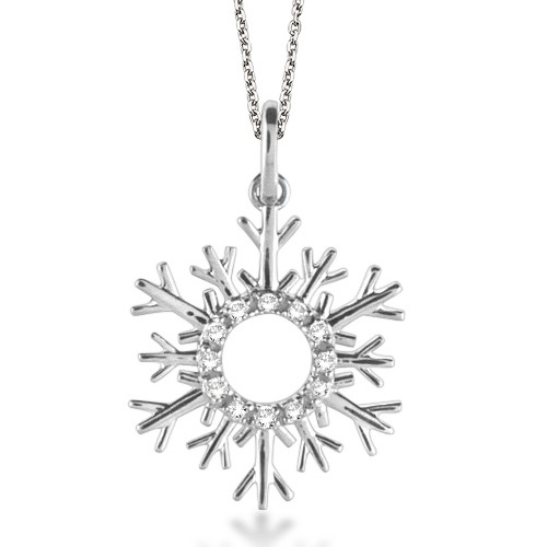 Snowflake Diamond Pendant Necklace 14k White Gold (0.10ct)