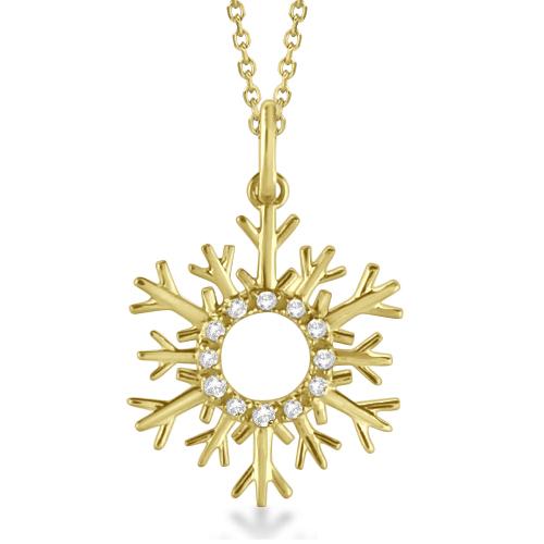 Snowflake Diamond Pendant Necklace 14k Yellow Gold (0.10ct)