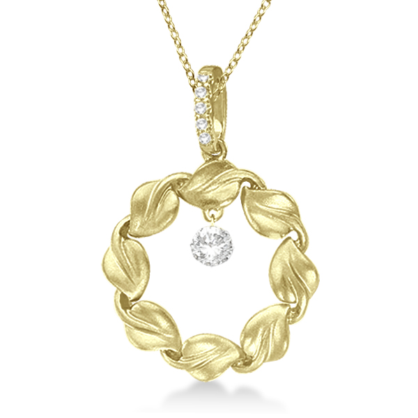 Swirl Design Circle Diamond Pendant Necklace 14k Yellow Gold (0.20ct)