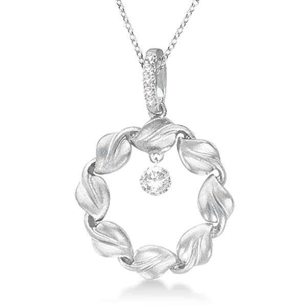 Swirl Design Circle Diamond Pendant Necklace 14k White Gold (0.20ct)