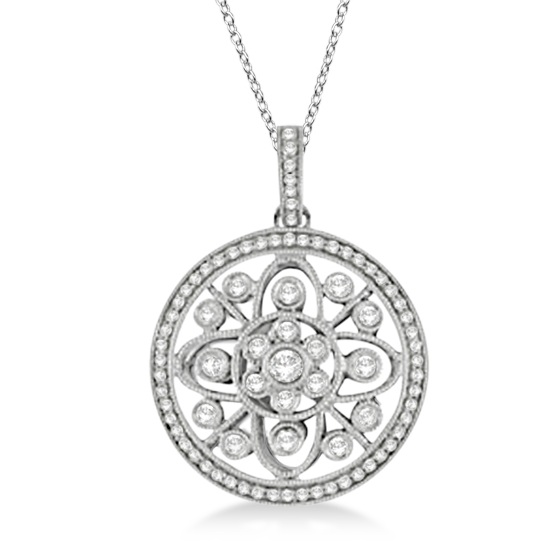 Antique Circle Disk Diamond Pendant Necklace 14k White Gold (0.60ct)