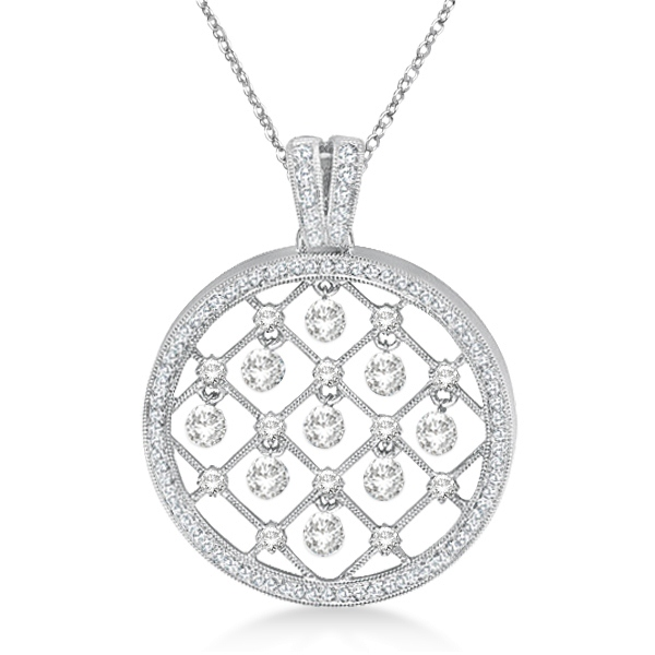 Circle Shaped Diamond Pendant Necklace 14k White Gold (1.25ct)