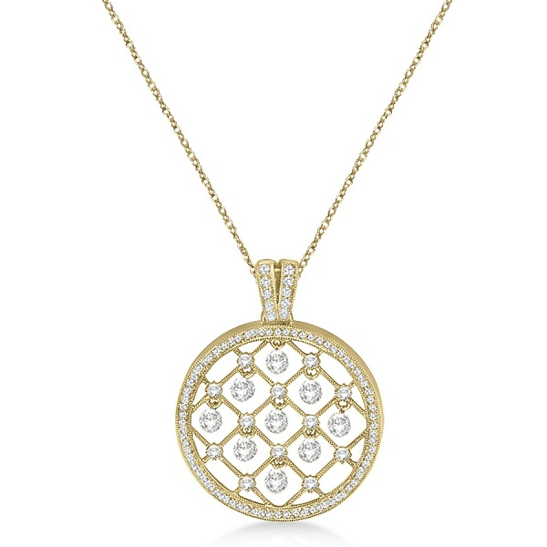 Circle Shaped Diamond Pendant Necklace 14k Yellow Gold (1.25ct)
