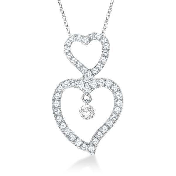Double Open Heart Diamond Pendant Necklace 14k White Gold (0.40ct)