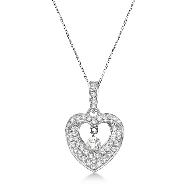 Open Heart Swirl Diamond Pendant Necklace 14k White Gold (0.35ct)