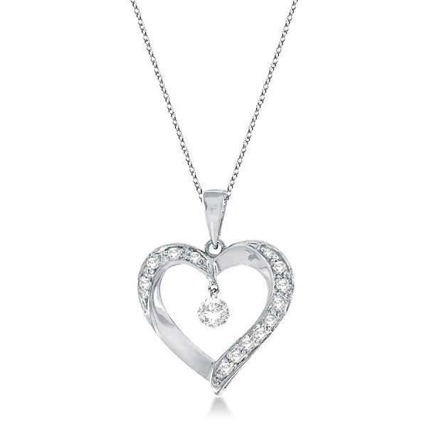 Open Heart Swirl Diamond Pendant Necklace 14k White Gold (0.25ct)