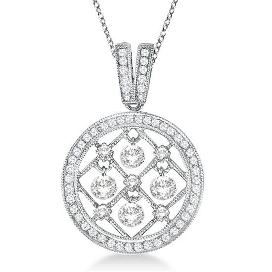 Circle Diamond Pendant Necklace Milgrain Edged 14k White Gold (0.55ct)