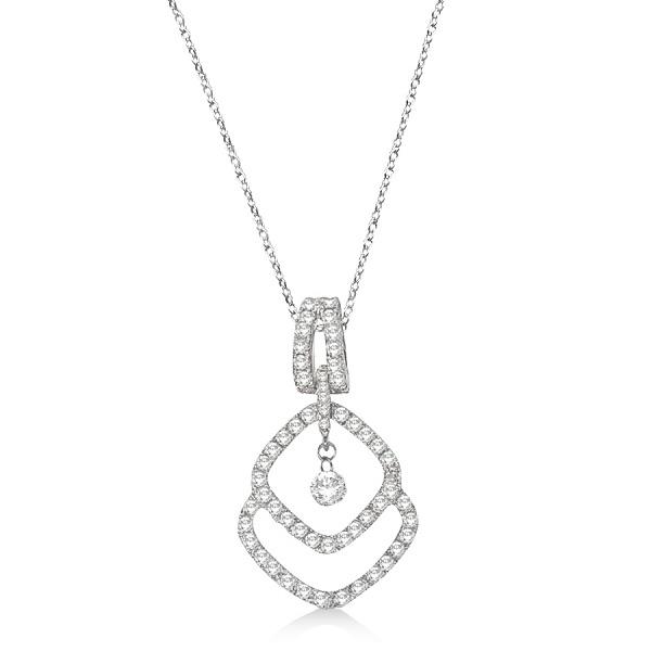 Unique Shape Diamond Pendant Necklace 14k White Gold (0.60ct)