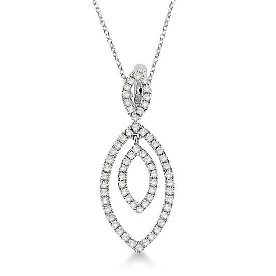 Marquise Shape Diamond Pendant Necklace in 14k White Gold (0.40ct)