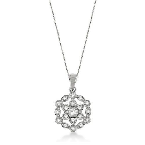 Snowflake Diamond Pendant Necklace 14k White Gold (0.25ct)