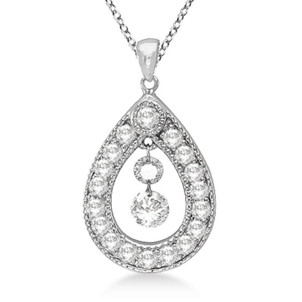 Vintage Diamond Teardrop Pendant Necklace 14k white Gold (0.65ct)