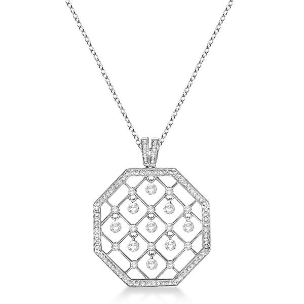 Octagon Shaped Diamond Pendant Necklace 14K White Gold (1.05ct)