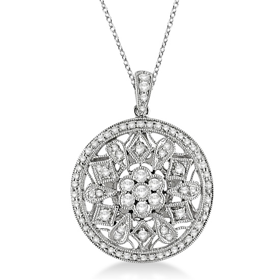 Large Circle Disk Filigree Pendant Necklace 14k White Gold (0.60ct)