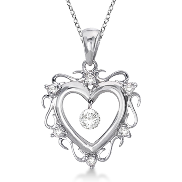 Open Heart Shaped Diamond Pendant Necklace 14k White Gold (0.15ct)