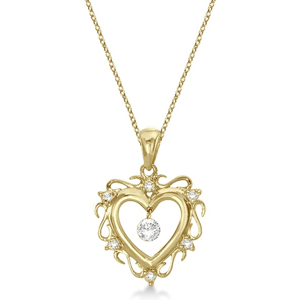 Open Heart Shaped Diamond Pendant Necklace 14k Yellow Gold (0.15ct)