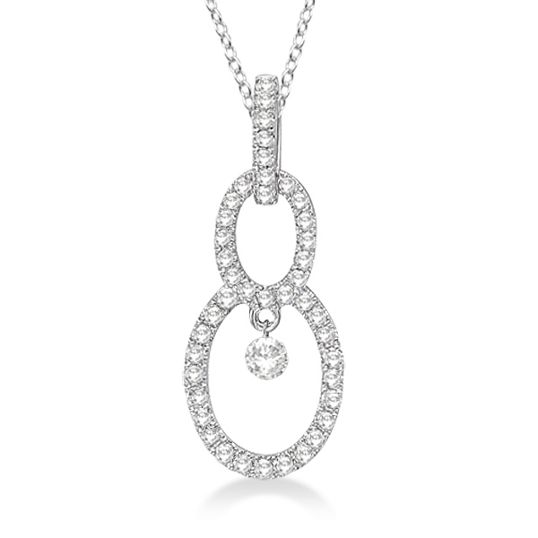 Double Oval Shaped Diamond Pendant Necklace 14k White Gold (0.40ct)