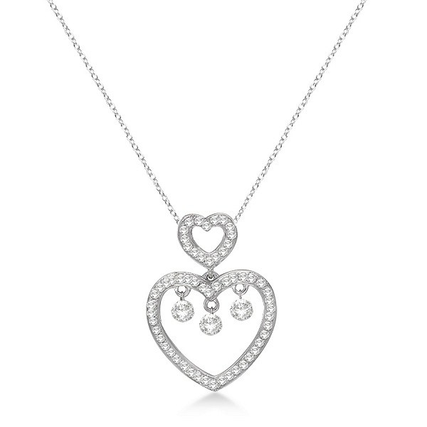 Double Open Heart Diamond Pendant Necklace 14k White Gold (0.50ct)