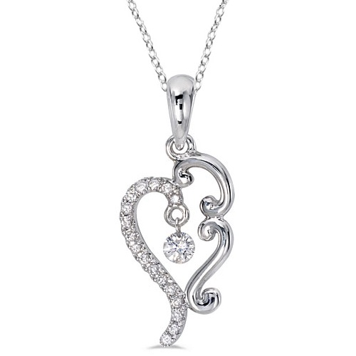 Drilled Set Diamond Pendant Necklace 14k White Gold (0.15ct)