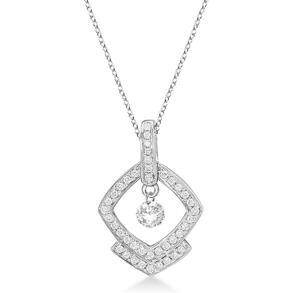 Square Shaped Diamond Pendant Necklace 14K White Gold (0.30ct)