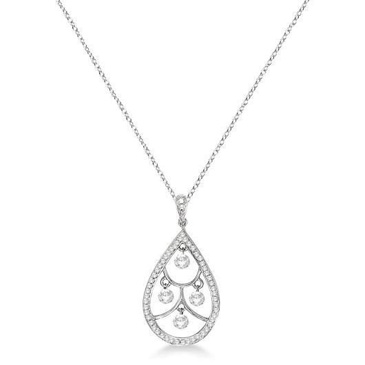 Teardrop Diamond Pendant Necklace 14k White Gold (0.50ct)