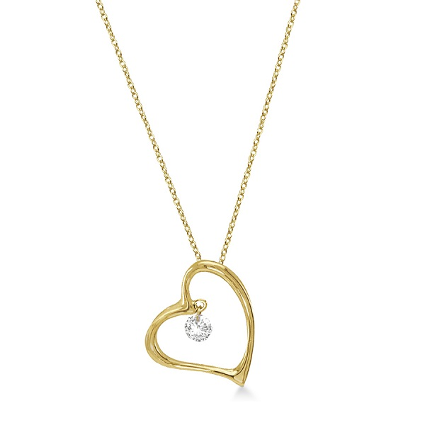 Open Heart Shaped Diamond Pendant Necklace 14k Yellow Gold (0.10ct)