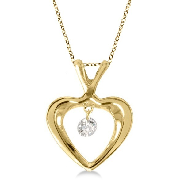 Dashing Diamonds Open Heart Diamond Pendant Necklace 14k Yellow Gold