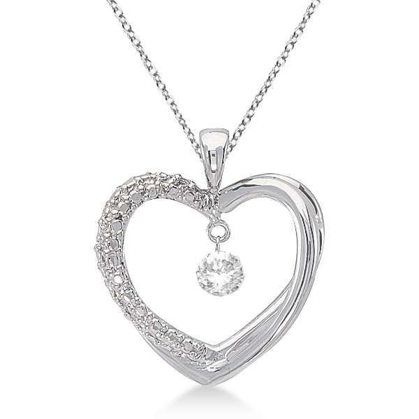 Open Heart Shaped Diamond Pendant Necklace 14k White Gold (0.10ct)