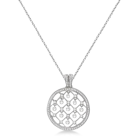 Drilled Set Circle Diamond Pendant Necklace 14k White Gold (1.00ct)