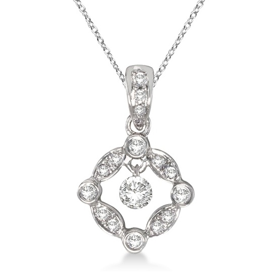 Bezel Set Square Diamond Pendant Necklace 14k White Gold (0.25ct)